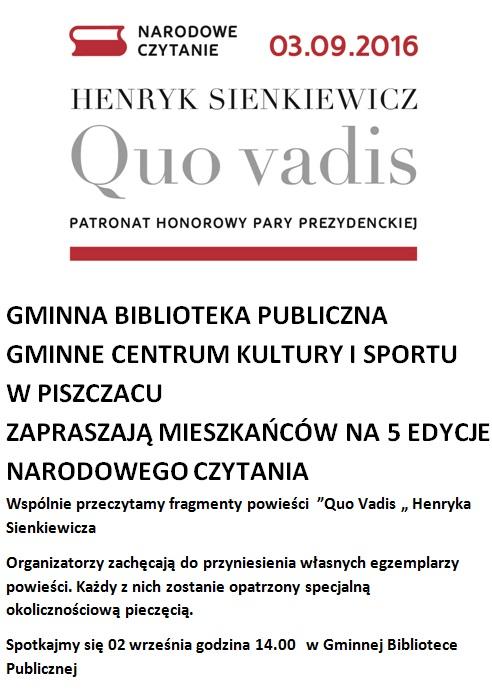 Biblioteka Zaprasza Na Wspólne Czytanie Quo Vadis Aktualności